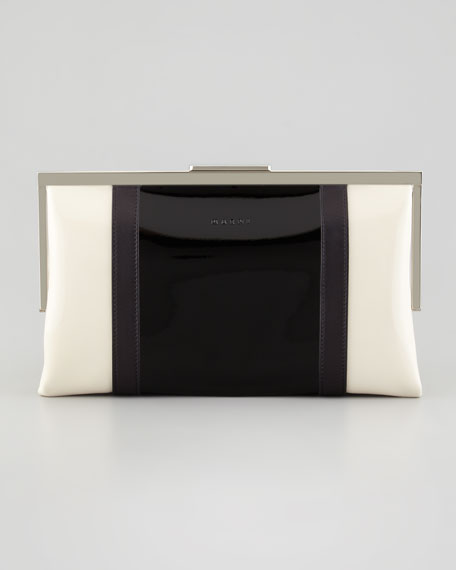 Bicolor Framed Patent Clutch Bag, Gray/White