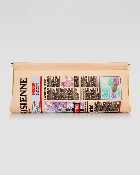 Embroidered Newspaper Clutch
