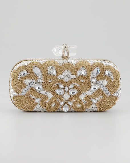 Lily Medium Embroidered Crystal Box Clutch, Black