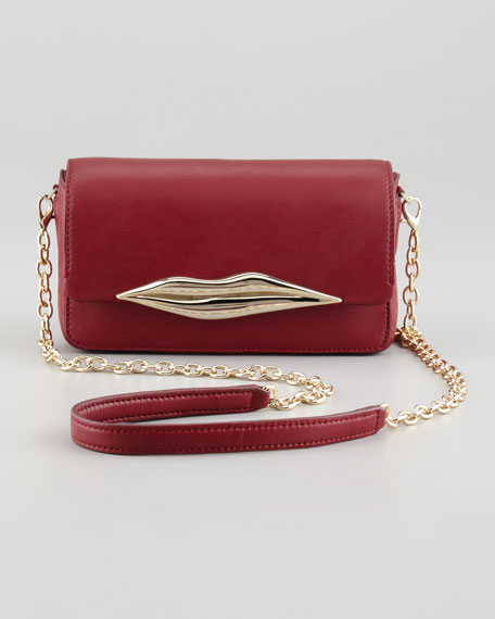 Flirty Leather Mini Crossbody Bag, Cherry