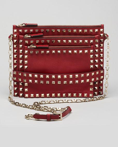 Rockstud Triple-Zip Crossbody Bag, Scarlet