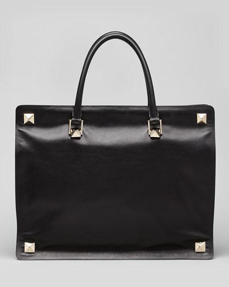 Rockstud-Corner Leather Tote Bag, Black