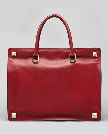 Rockstud-Corner Leather Tote Bag, Scarlet