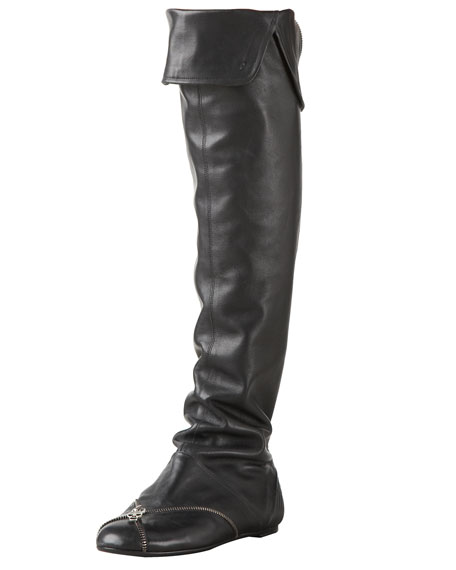 Skull-Zip Over-the-Knee Boot