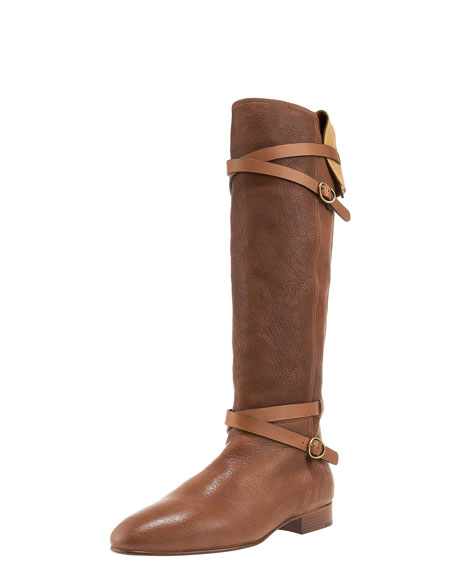 Cross-Strap Fold-Over Flat Boot