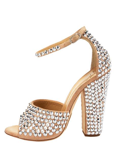 Crystal Chunky-Heel Sandal