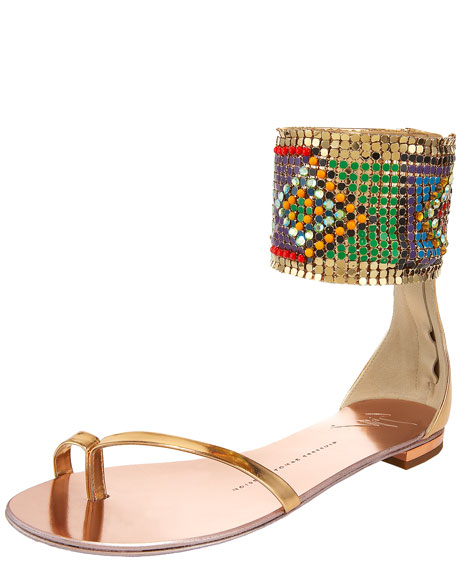 Tribal-Cuffed Flat Sandal