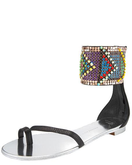 Tribal-Cuff Flat Sandal
