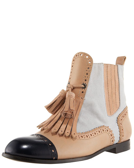 Canvas & Leather Brogue Bootie
