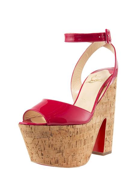 Patent & Cork Platform Sandal
