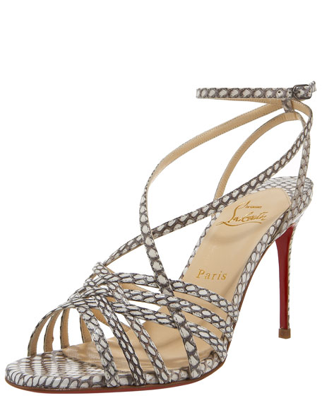 Beverly Cobra-Skin Strappy Sandal