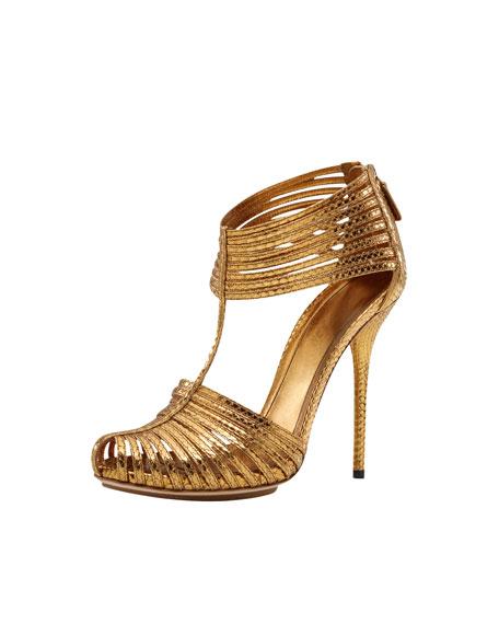 Inga T-Strap Sandal, Gold