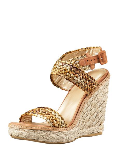 African Raffia Wedge Sandal