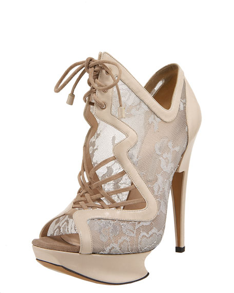 Lace-Up Lace Platform Sandal