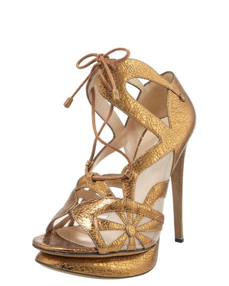 Crackled Metallic Lace-Up Sandal