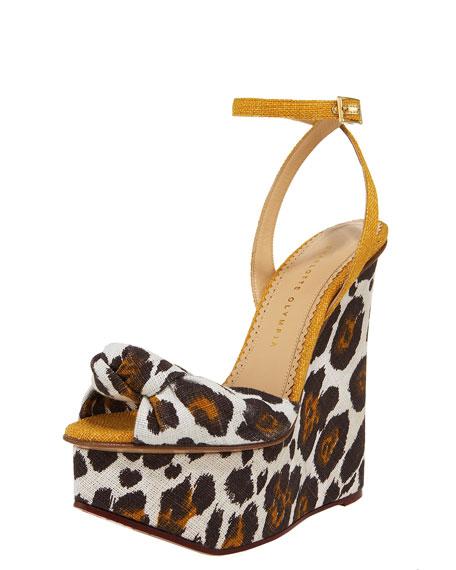 Leopard-Print Linen Wedge Sandal