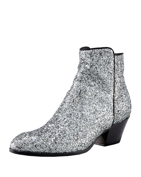 Glitter Mid-Heel Ankle Boot