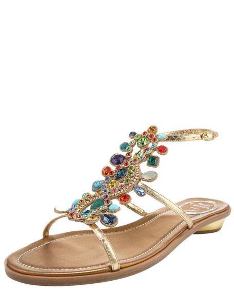 Multi-Crystal Flat Ankle-Wrap Sandal