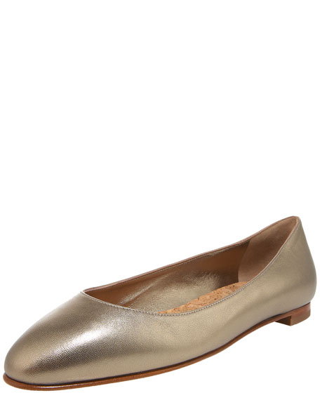 Gena Low-Cut Napa Ballerina, Gold
