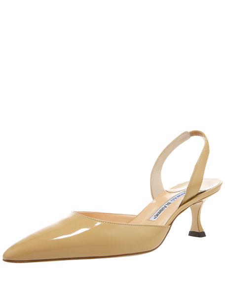 Carolyne Patent Mid-Heel Halter, Beige