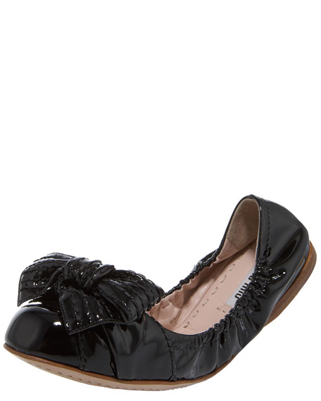 Patent Clamshell Ballerina Flat With Bow