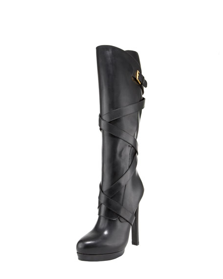 Wrapped Strappy Knee Boot