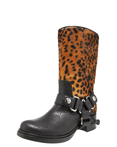 Leopard-Print Harness Motorcycle Boot
