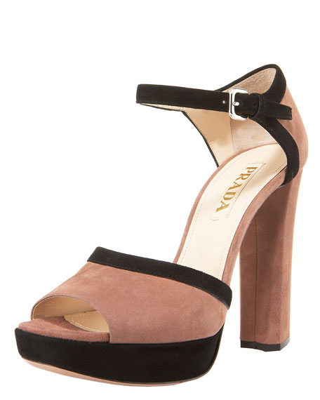 Two-Tone Suede Platform Sandal