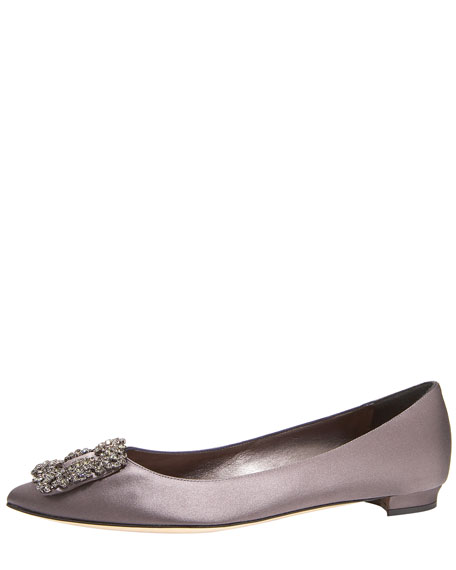 Hangisi Crystal-Toe Satin Flat