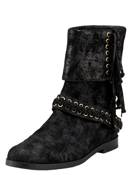 Laced Suede Fold-Over Bootie