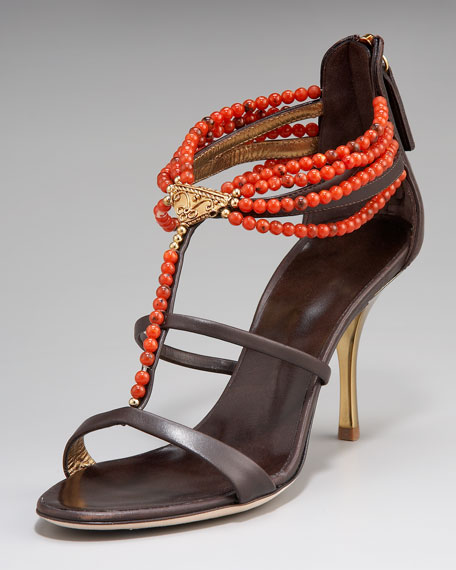 Coral-Beaded T-Strap Sandal