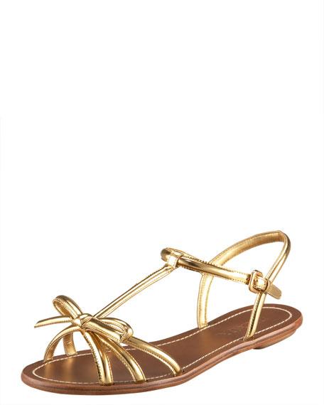 T-Strap Bow Flat Sandal