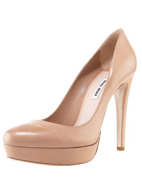 Leather Platform Pump, Nude