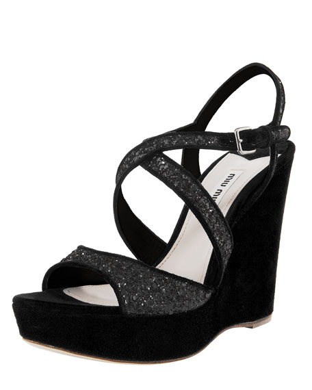 Crisscross Glitter Wedge Sandal