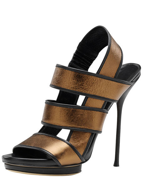 Bette High-Heel Platform Sandal, Bronze Metallic