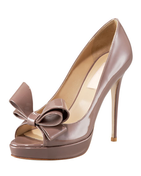 Couture Platform Bow Pump, Taupe