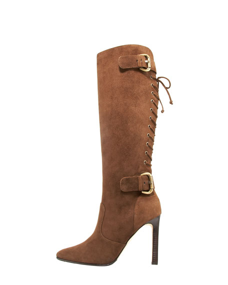 Laced-Back Mid-Calf Boot