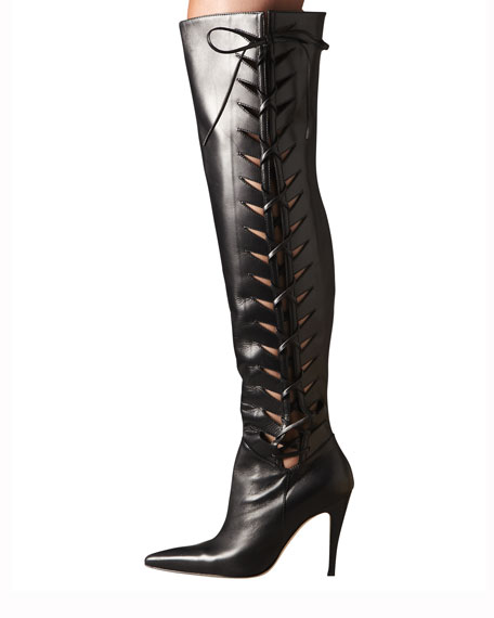 Lace-Up Cutout Over-the-Knee Boot