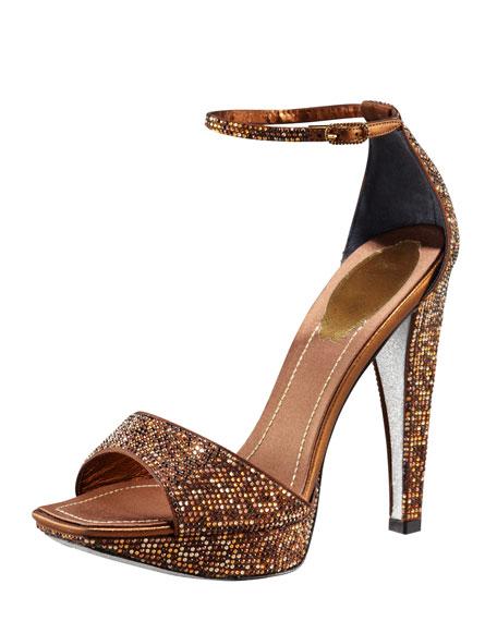 Crystallized Platform Ankle-Wrap Sandal