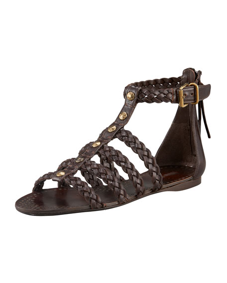 Braided Cage T-Strap Flat