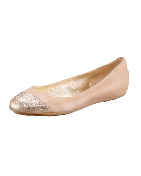 Whirl Glitter Cap-Toe Ballerina Flat
