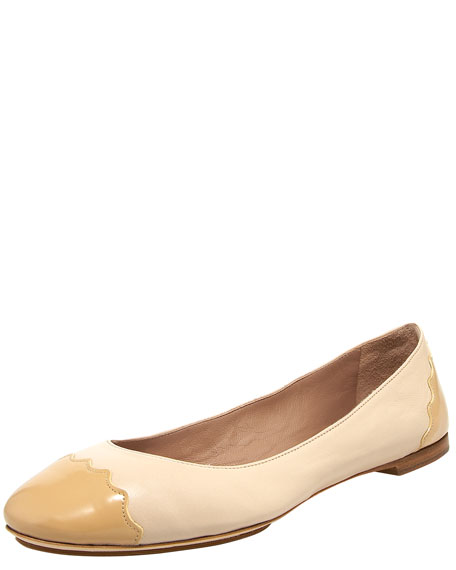 Scalloped Cap-Toe Ballerina Flat