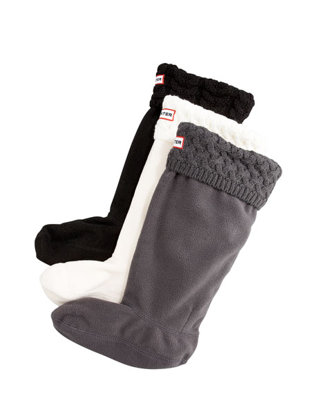 Knit-Cuff Fleece Welly Sock