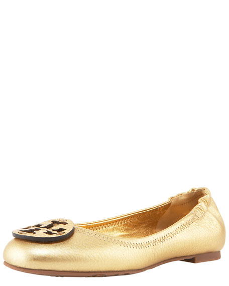 Reva Metallic Leather Ballerina, Gold