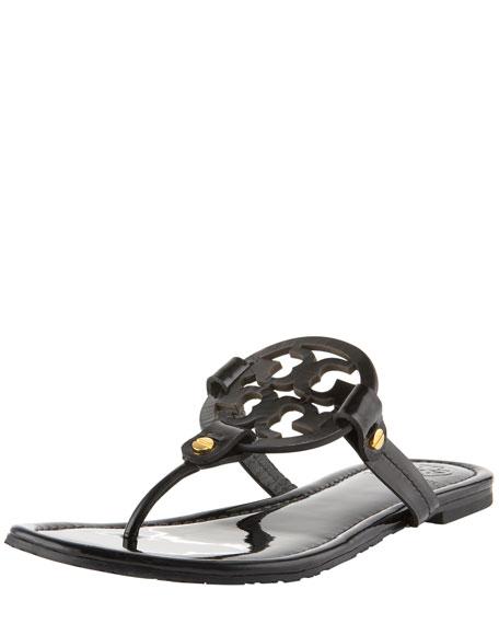 Tory Burch Miller Logo Flat Thong Sandal, Black