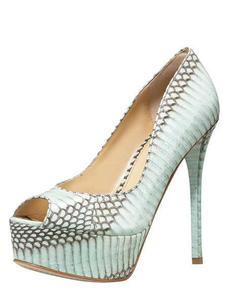 Snake-Embossed Peep-Toe Pump