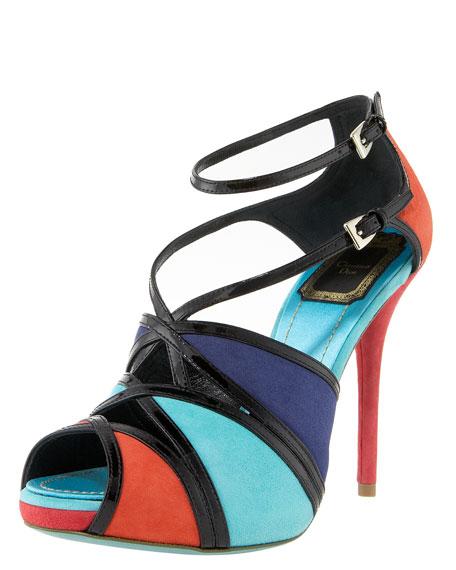 Colorblock Ankle-Wrap Sandal