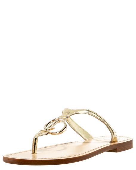 Metallic Logo-Charm Thong Sandal