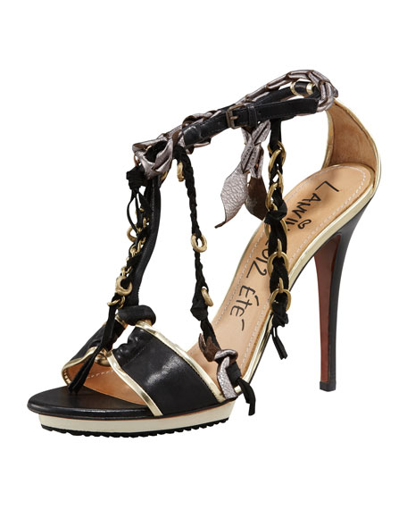 Chain & Fringe T-Strap Sandal