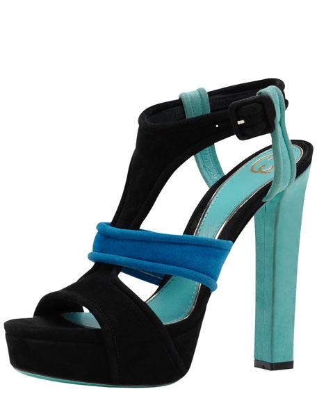 Andie Multicolor Suede Platform Sandal, Jade/Blue/Black